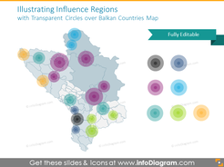 Influence Regions with Transparent Circles over Balkan Countries