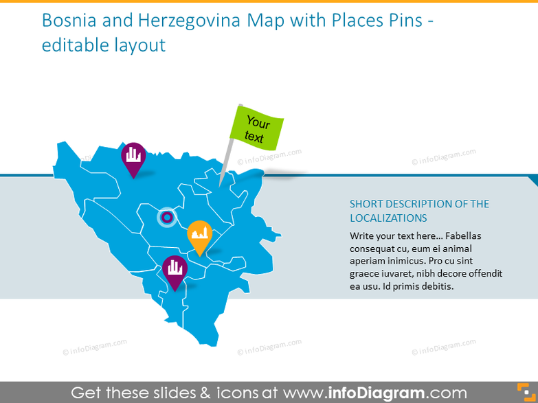 Bosnia and Herzegovina Map with Places Pins