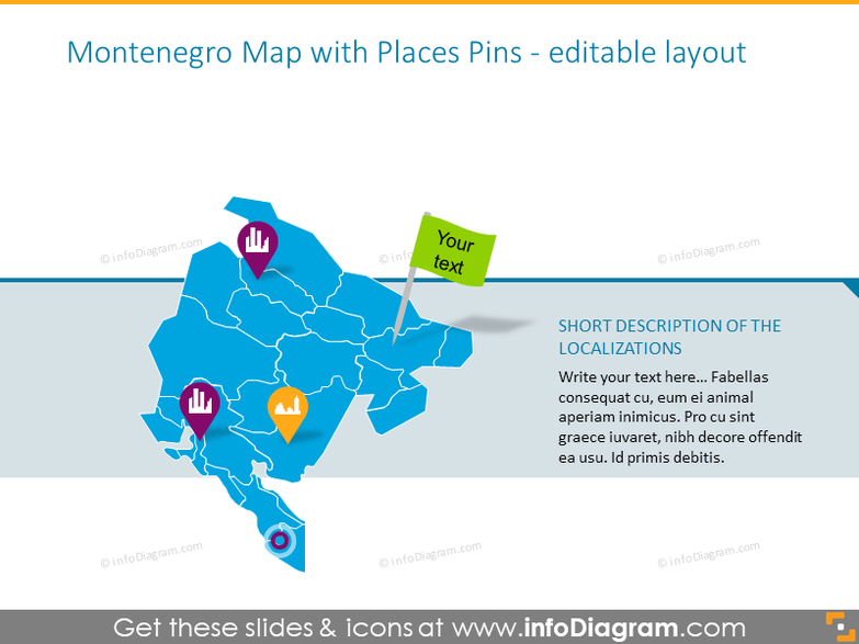 Montenegro Map with Places Pins