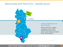 Albania Map with Places Pins