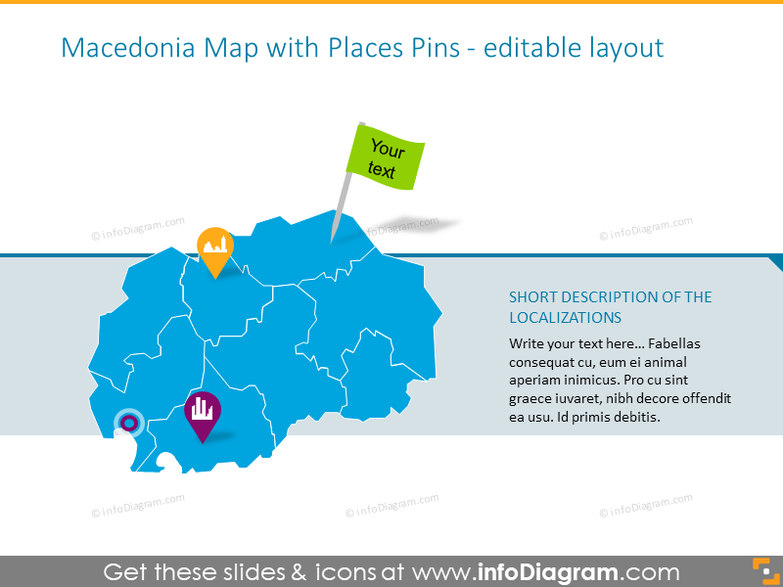 Macedonia Map with Places Pins