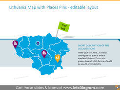 Lithuania map with places pins