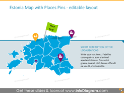 Estonia map with places pins