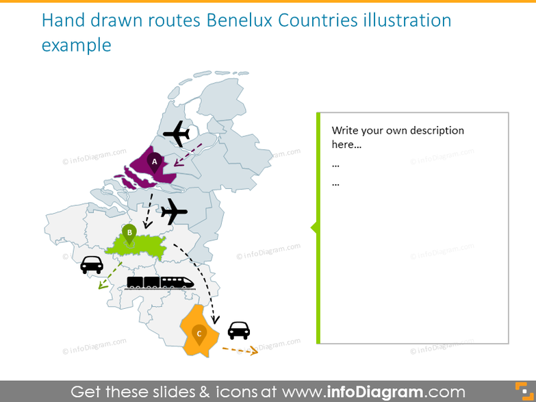 Benelux countries hand drawn routes map