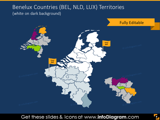 Benelux countries map illustrated on dark background