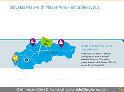 Slovakian map illustrated with places pins