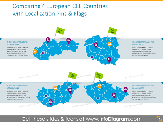 4 European CEE countries with pins and flags