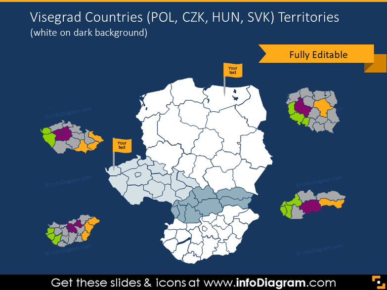 Visegrad countries territories illustrated on dark background