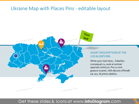 Ukraine Map with Places Pins