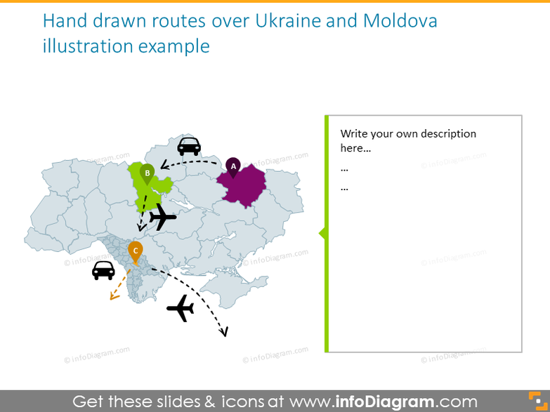 Hand drawn routes over Ukraine and Moldova illustration example