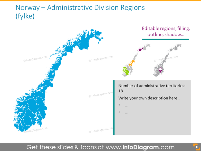Norway administrative division regions map