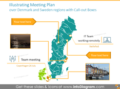Meeting plan over Denmark and Sweden regions with text boxes