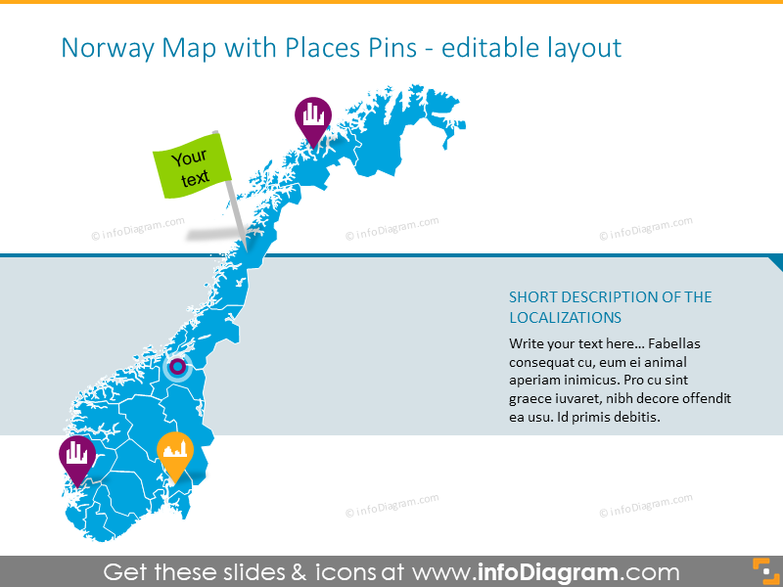 Example of the Norway map with places pins