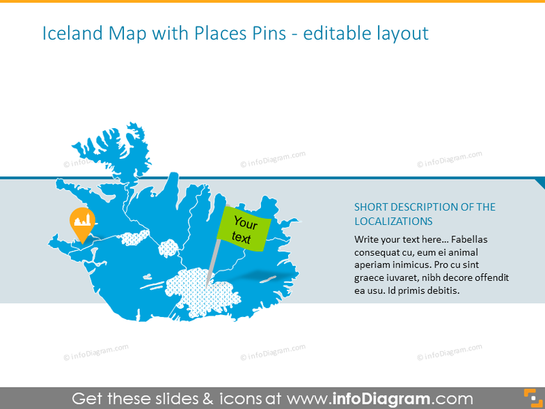 Example of the Iceland map with places pins