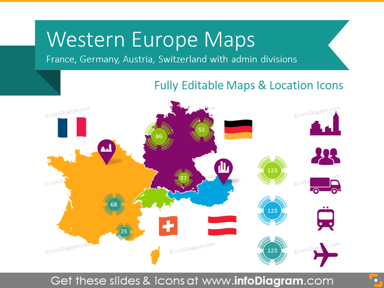Western Europe Map with Administrative Territories (Germany, France PPT editable Maps)