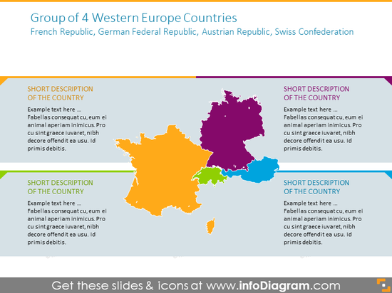 Group of 4 Western Europe Countries map