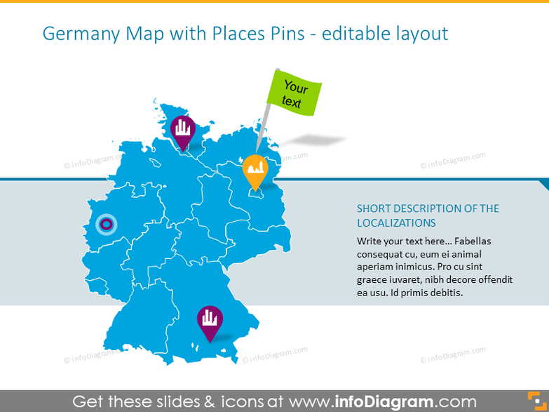 Germany map with places pins