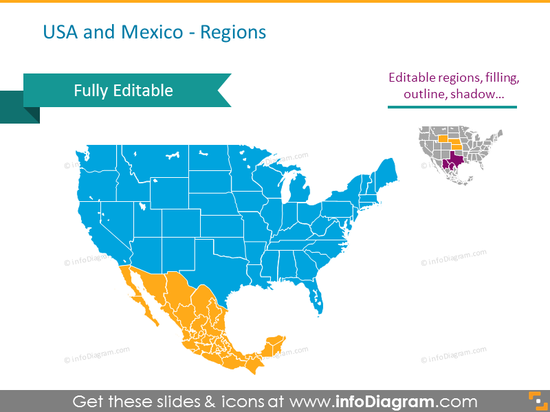 USAand Mexico maps detailed