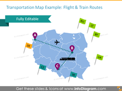 Transport map example showed with flights and train routes