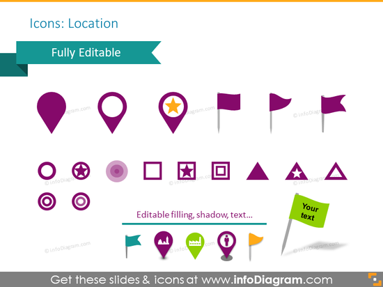 Example of location icons: pins, pin-flags, transparent circles