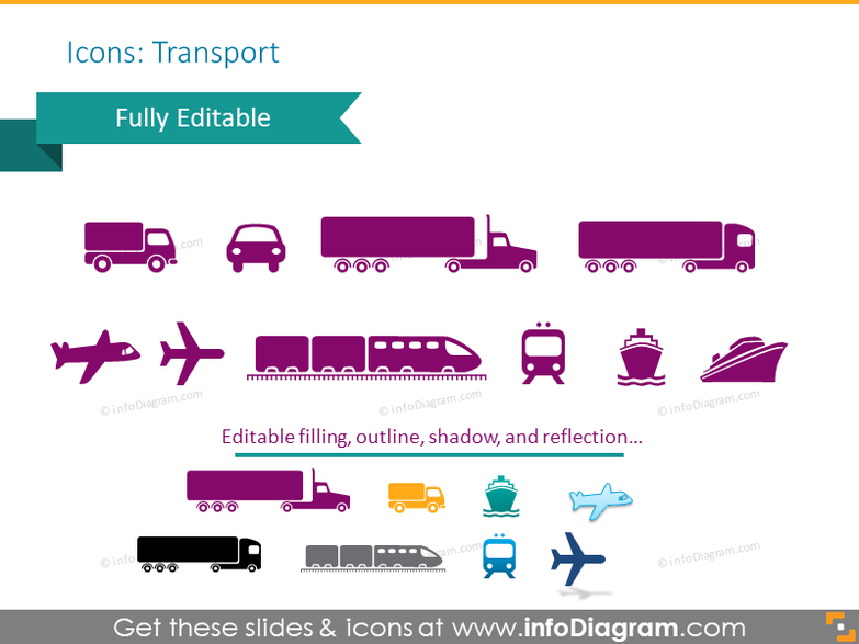 Example of the transport icons