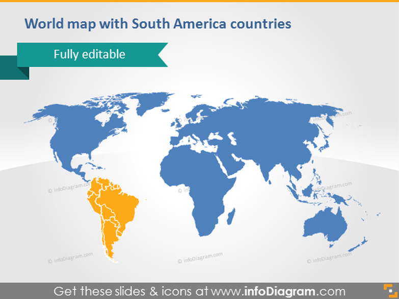 World Map South America Continent countries PowerPoint