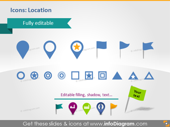 PPT Maps Location Icons Pins Flags South America