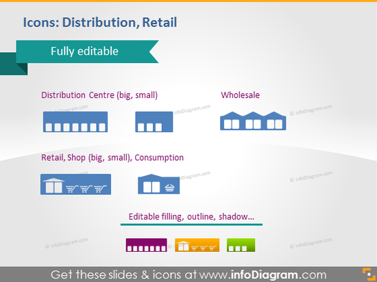 Distribution Retail Shopping Warehouse Symbols PPTX Clipart