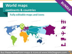World Maps: Continents, Countries, Population, Transport icons