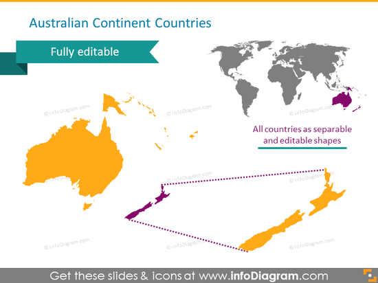 Australia continent countries map new zealand ppt