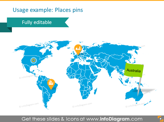 world map place pin icon powerpoint clipart
