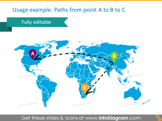 map world routes dotted sketch line powerpoint