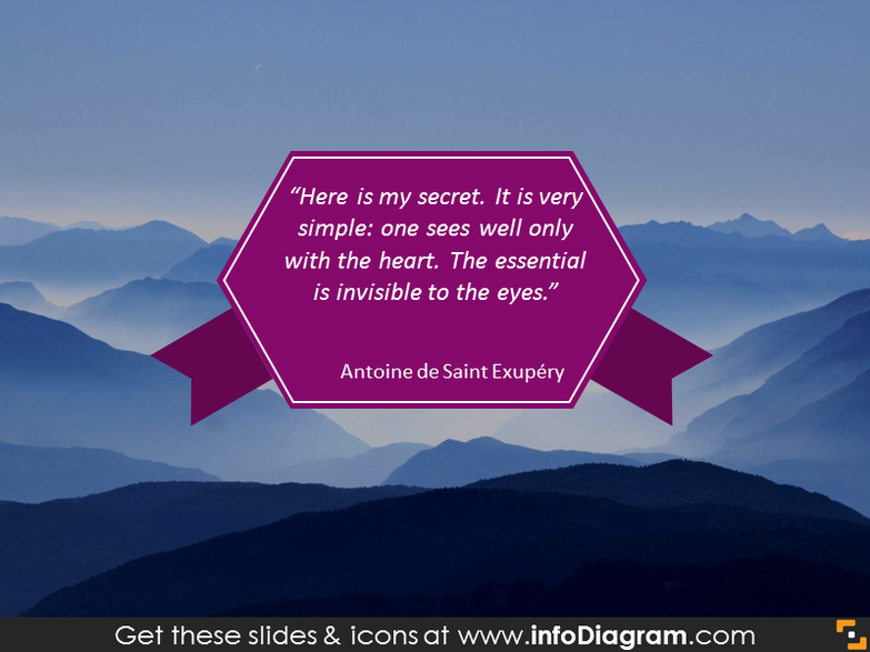 Quote on ribbon banner with nature background