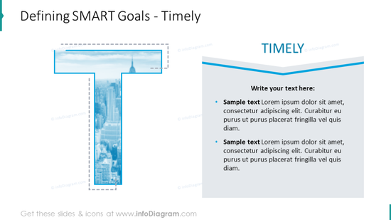 Defining SMART goals intended for presenting Timely criteria