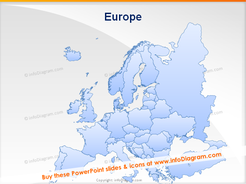 Map Europe distribution chain PPT icons