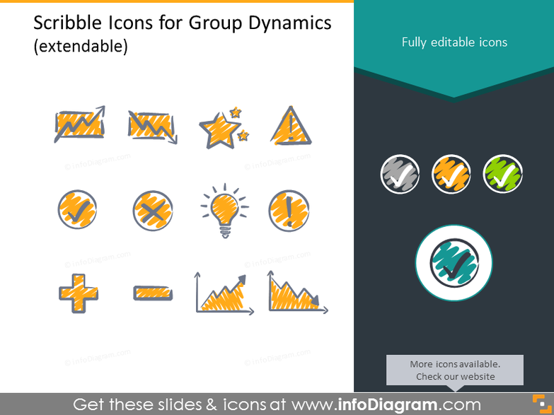 Scribble icons set for SWOT analysis