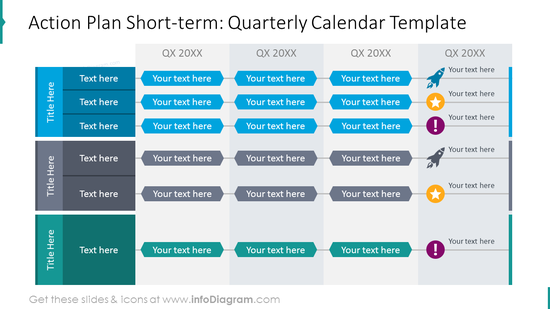 Quarterly action calendar with colorful graphics