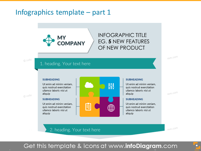 Infographics Title for Features in Puzzle Form with Heading