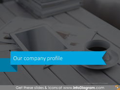 Headline slide with flat blue arrow and business background