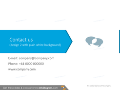 Contact information slide illustrated with flat blue arrow