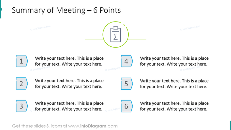 Summary of meeting with 6 points