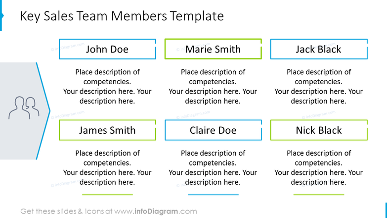 Team members template with text description and icons