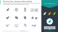 Flat Icons: launch, notes, cards, innovation, creative thinking, retail, monitor