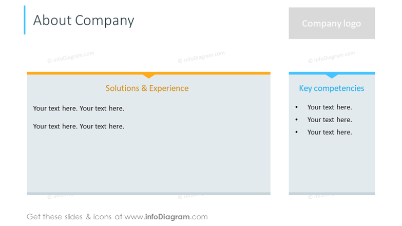 Company information: company logo, solutions and experience, competencies