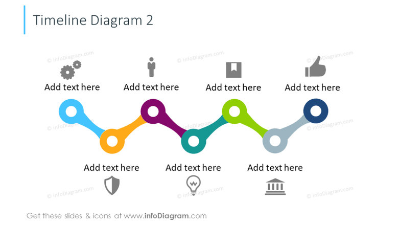 Example of timeline zigzag diagram illustrated with flat icons