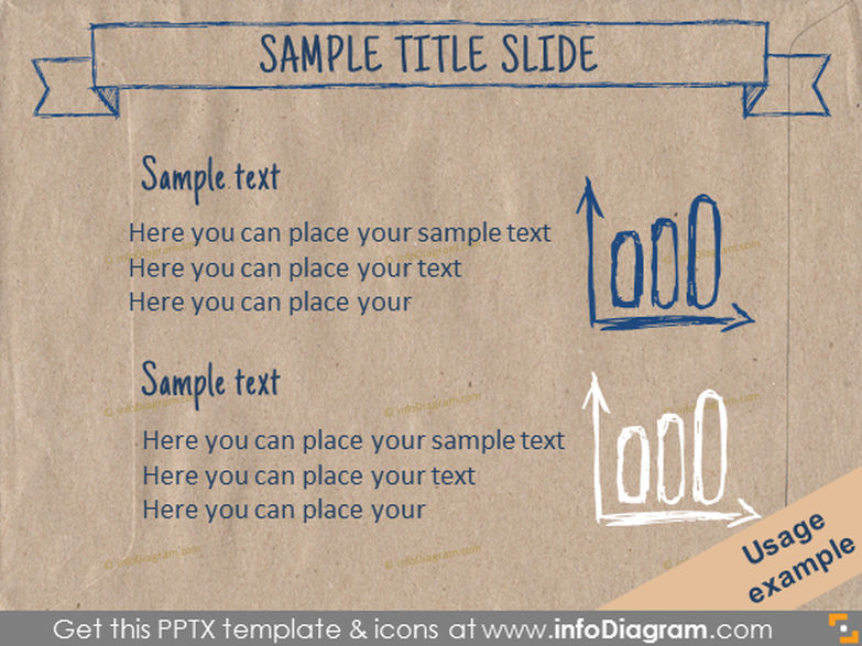 eco paper template text slide bar chart pencil doodle ppt icon