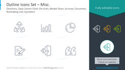Outline icons: misc.directions, data column chart, pie chart, market share