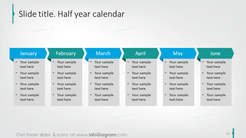 Example of half a year calendar with description to each month