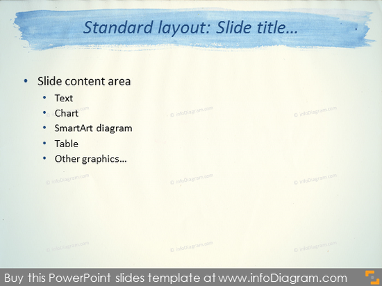 Standard Layout Slide Blue Stripe Watercolor Template PowerPoint