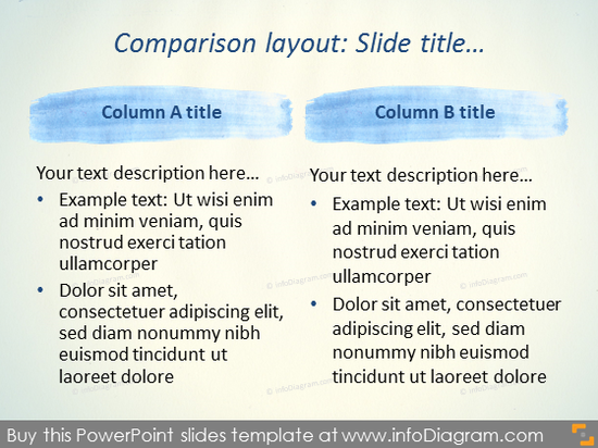Comparison Slide Layout Watercolor Stripes Template PowerPoint